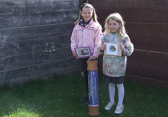 Two students from the Boskenwyn Primary school