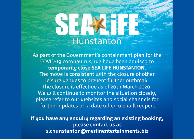 Hunstanton SEA LIFE is temporarily closed
