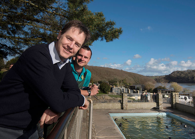 The Deputy Prime Minister Nick Clegg visited the Seal Sanctuary on 5th March 2015