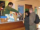 Scott in reception with visitors to the seal sanctuary