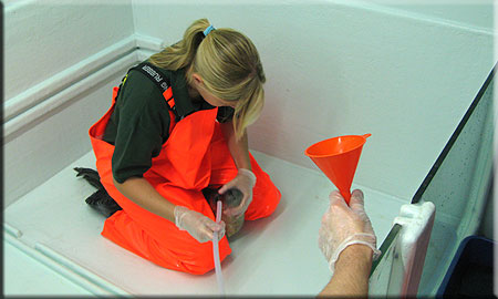 Corn, a rescued common seal pup (2008/9 season), being tube fed with liquidised fish by Kristy