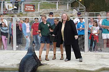 Candy feeds Flipper in Seal Bay