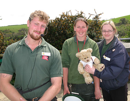 James, Claire and Rachael with Travelling Ted